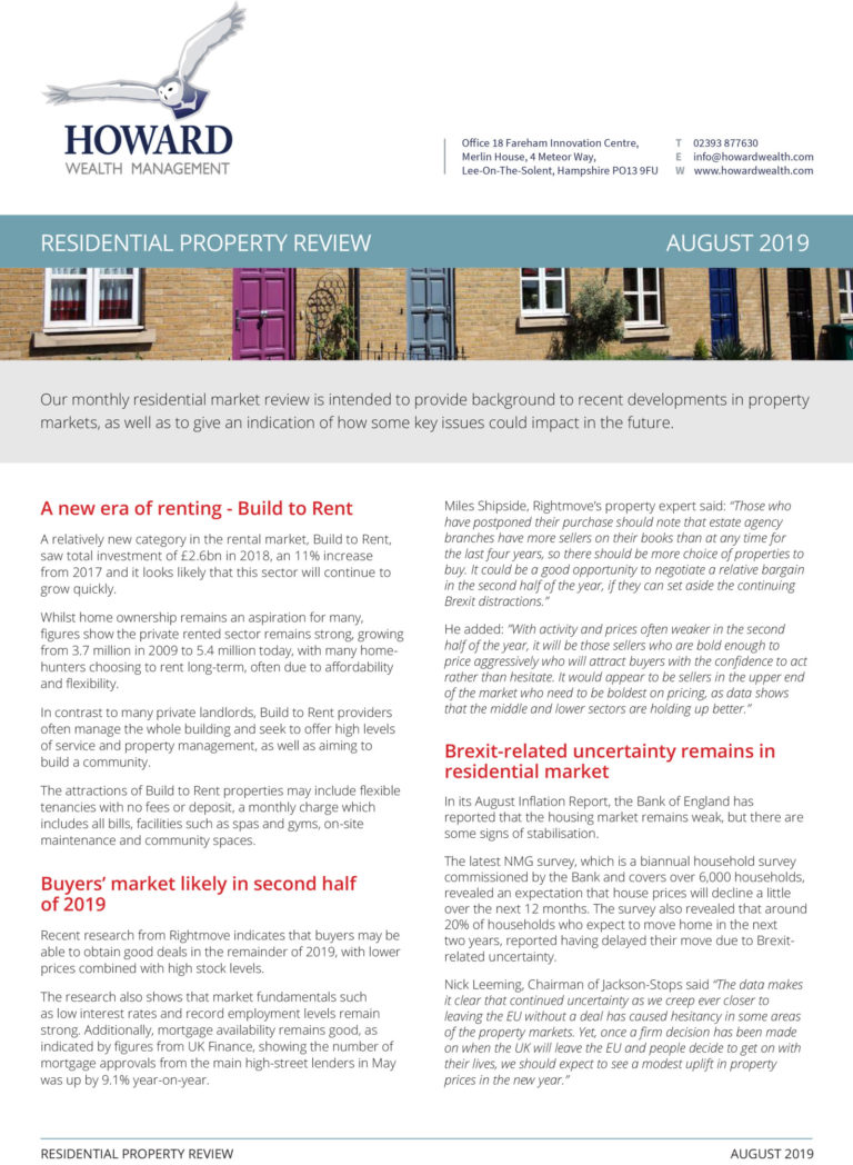 TOMD Residential Property Market Review August 2019 1